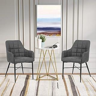 SHINAWOOD - Juego de 2 sillas de comedor retro de piel sintética con patas de metal, sillas de cocina, salón o comedor, color marrón y gris (juego de 2 unidades)