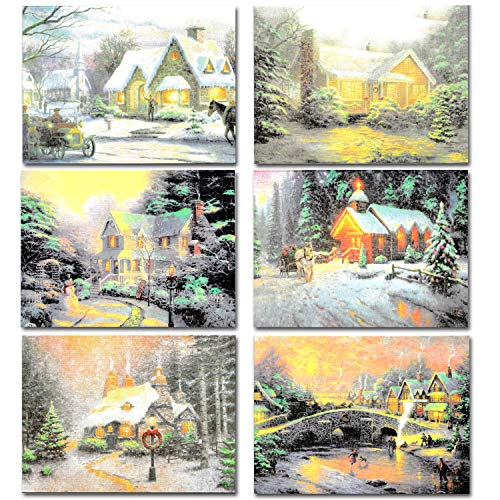 Snowy Town Greeting Cards 72 Christmas Greeting Cards Collection with Envelopes for Winter Xmas Season, Holiday Gift Giving, Xmas Gifts Cards