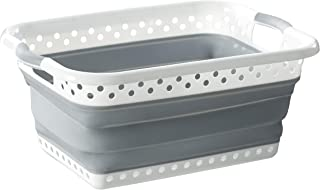 Homz Rectangle, White and Grey Collapsible Plastic Laundry Basket,