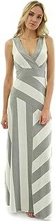 PattyBoutik Women Crossover V Neck Striped Maxi Dress