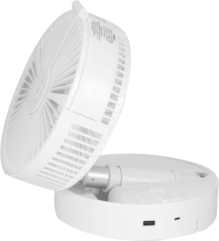 Ventilador de pie, ventilador de piso portátil plegable, ventilador de escritorio ajustable en altura, mini ventilador con luz nocturna en aerosol, 4 velocidades, batería recargable de 7200 mAh