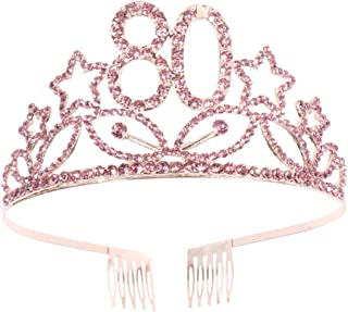 Beaupretty 80th Happy Birthday Tiara Crystal Rhinestone Crown with Hair Comb (Rose Gold)