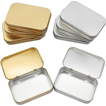 8 Piezas Latas Pequeñas Rectangulares de Metal con Latas de Bisagras, Mini Portátil Caja de Almacenaje Pequeña Caja de Lata Vacía para Abalorios, Monedas, Joyas, Dulces, 95 x 62 x 20 mm: Amazon.es: Hogar