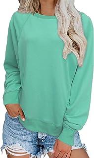 Dokotoo Womens Crewneck Color Block Long Sleeve Loose Casual Sweatshirt Top (S-XXL)
