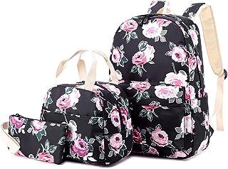 Schultaschen Rucksack Set Teen Girls Bookbag mit Lunchbox Tasche und Federmäppchen für 14-Zoll-Laptop-Big Floral