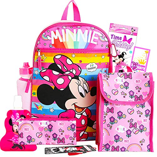 Disney Minnie Mouse Backpack and Lunch Bag for Girls 9 Pc Bundle ~ Deluxe 16' Minnie School Bag, Lunch Box, Water Bottle, Stickers, and More (Minnie Mouse School Supplies)