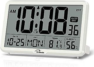 ساعت دیواری WallarGe دیجیتال ، ساعتهای میز کار خودکار با دما ، رطوبت و تاریخ ، صفحه نمایش بزرگ ساعت دیجیتال دیجیتال باتری ، منطقه زمانی 8 ، Auto DST. (سفید)