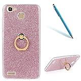 CLTPY Handyhülle für Huawei Enjoy 5s, Shine Crystal Stoßfestes Dünn TPU Abdeckung und Glitzer Farbe PP Innere Schicht + Gold Metall Ring Stand für Huawei Enjoy 5s(GR3) + 1 x Freier Stift - Rosa 1