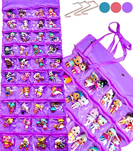 HOME4 LOL Toys Hanging Over The Door Storage Organizer Carrying Travel, 40 Clear View Pockets, Roll Up, for Small Dolls, Cars, Jewelry, Hair Accessories, Arts & Crafts, Bead, Sewing and More (Pink)