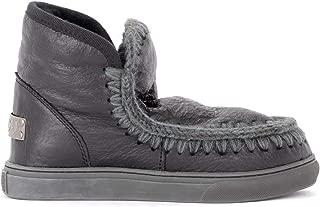 Mou Woman's Stivaletto Mini Eskimo Sneaker in Montone Cracklè Nero