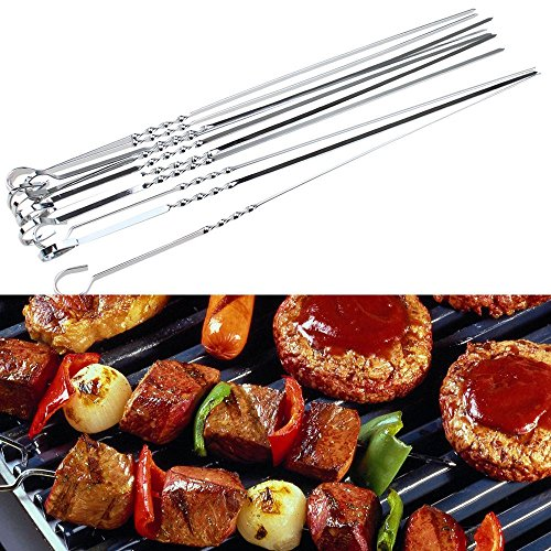 Learn More About BBQ 15 inch 10PCS Stainless Steel Utensil Skewers Barbeque Kabob Needle Fork