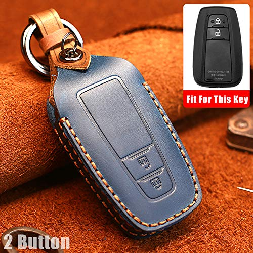 Funda protectora para llave de coche con mando a distancia para Toyota CHR Camry Prius Prado 2016-2018 para Toyota Aygo RAV4 Corolla 2018 2 botones de piel sin llave (azul)