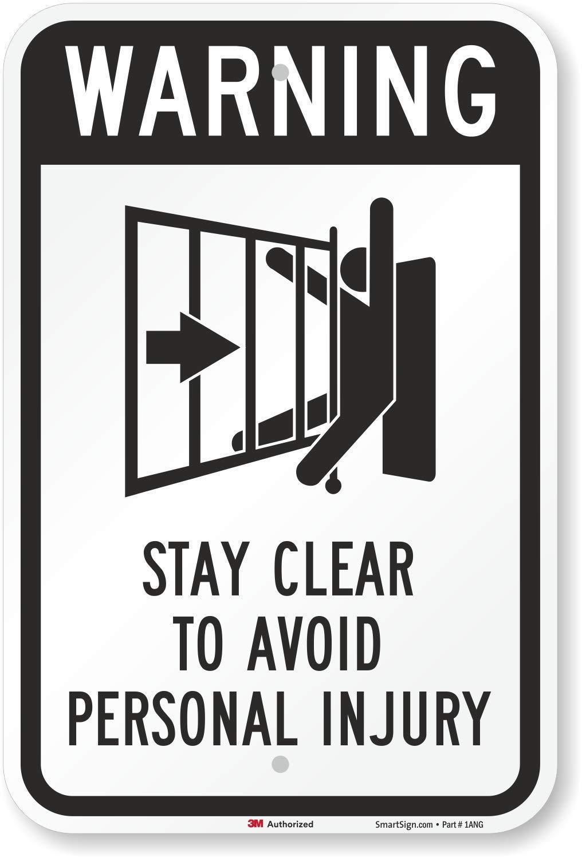Señal de advertencia de puerta automática, símbolo de estancia claro para evitar lesiones personales (puerta corredera), 18