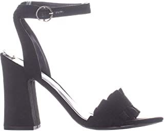 Womens Sandie Open Toe Casual Slingback, Black Fabric, Size 5.5
