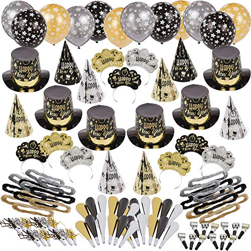 Party City Black Tie Affair New Year's Kit for 200, Includes Cone and Top Hats, Tiaras, Foil Horns, Leis and Balloons