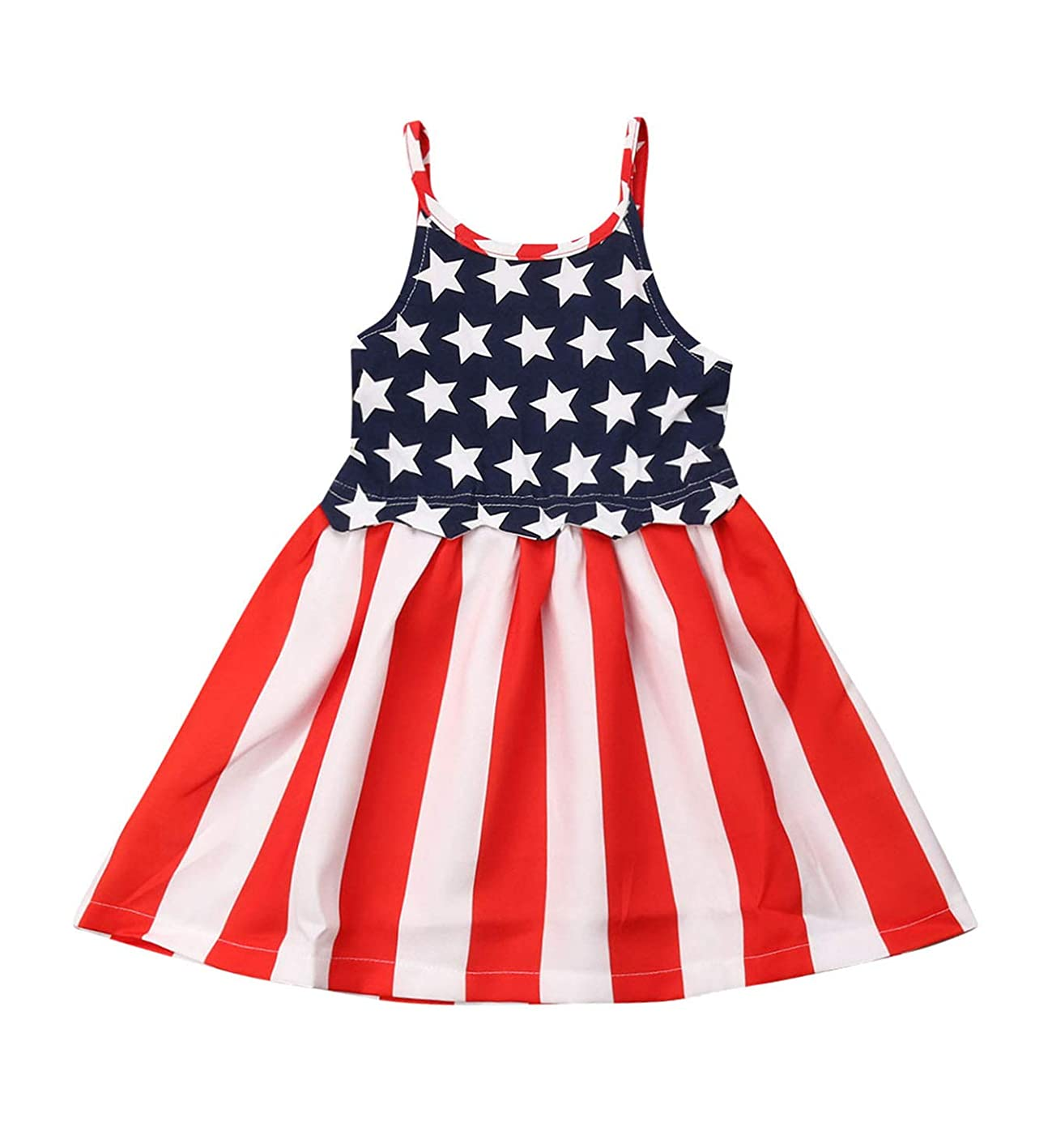 Baby Girls 4th of July Dress Striped&Stars Halter Sleeveless Summer Dresses American Flag Independence Day Dresses dexytmotncs472