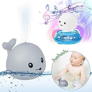 Upworld Giocattoli da bagno,Giocattoli con spruzzo dacqua 2 in 1 Sprinkler a induzione elettrica automatica Balena Giocattoli,Giocattoli con palline da bagno con luce lampeggiangte e musica per baby.