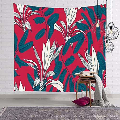 Avnaalvl Tapestry Wall Hanging Forest Leaf Greenery Plant Collage Botanical Blue Tree Leaves Pattern On Nature Green Texture Tapestry Wall Art for Dorm Decoration 60 x 60 Inches