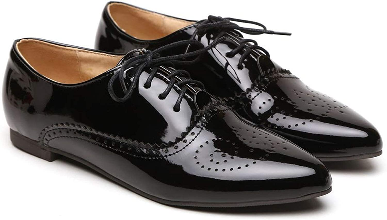 Every kind of beauty Women Glossy Oxfords Black bluee White Female Brogue shoes Low Heels ASP51-5 Plus Big Size 32 43 10