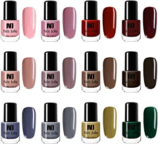 NEE JOLIE 12 Bottles Solid Color Nail Polish Quick Dry Purple Nude Colors Nail Polish Natural Non Toxic Nail Varnish DIY Design 3.5ml