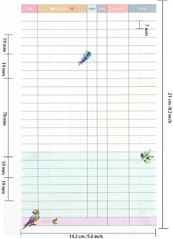 Ringbuch Einlagen A5 Notizbuch und Ringb/ücher Blanko Ringbucheinlagen Refill Set f/ür nachf/üllbare 6-Loch Kalender