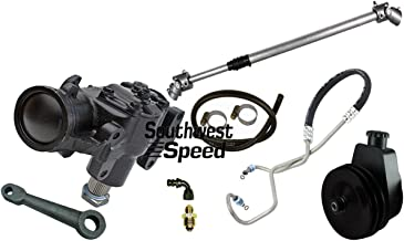 SOUTHWEST SPEED POWER STEERING CONVERSION KIT,COMPATIBLE WITH 76-86 JEEP CJ5 CJ7,20:1 GEAR BOX,1400 SERIES POWER STEERING PUMP,DOUBLE GROOVE V-BELT PULLEY,PITMAN ARM,TELESCOPING STEERING SHAFT,HOSES