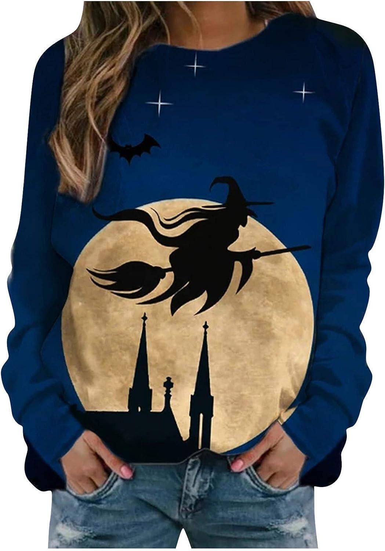 Halloween Sweatshirts For Women, Women'S Long Sleeve Vintage Graphic Printed Novelty Sweatshirts Casual Pullover Tops
