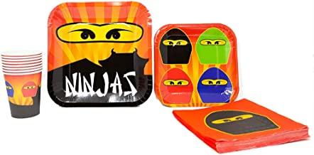 Blue Orchards Ninja Master Standard Party Packs (65+ Pieces for 16 Guests!), Ninjago-Inspired Birthday Sets, Ninjago Tableware Packs