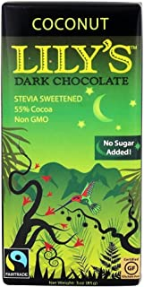 Lily's Dark 55% chocolate Stevia sweetened Coconut 3 oz (Pack of 3 bars)