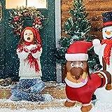 Perro inflable navideño, perrito juguetón inflable con gorro de Papá Noel, muñeco inflable navideño,...