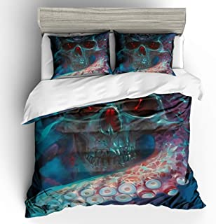 Kingtex ARIGHTEX 3D Halloween Grim Reaper Bedding Set Skull Glowing Brown Orange Yellow Duvet Cover Kids Bedding 3pcs Bedclothes King