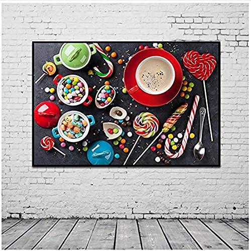 Canvas print,Home Decor Muurschildering Kleurrijke Snoepjes Snoep Eten Koffie Wall Art Poster Voor Keuken Eetkamer Decor-60x90cm