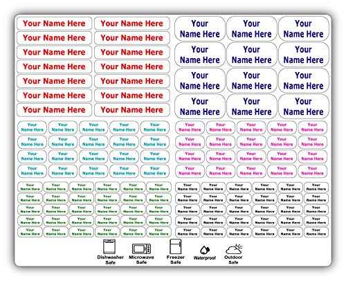 126 Personalized Waterproof Name Labels. Press and Stick Multi use Custom Name Labels. Highly Durable Customized Name Stickers with Permanent Self Adhesive. Great for School, Daycare or Camp