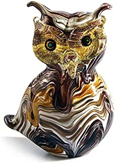 YourMurano Murano Glass Sculpture, Owl Shaped Sculpture, Brown Statue with Gold Leaf Details, Handmade Sculpture, 100% Trademark of Origin Guaranteed, Ghusy