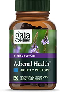 Gaia Herbs Adrenal Health Nightly Restore, Vegan Liquid Capsules, 60 Count - Calming Sleep and Stress Support, Ashwagandha...