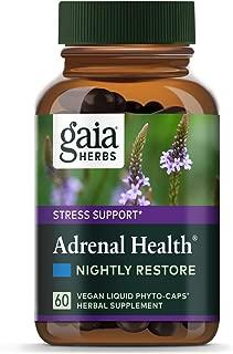 Gaia Herbs Adrenal Health Nightly Restore, Calming Sleep and Stress Support, Ashwagandha, Reishi, Cordyceps, Lemon Balm, Vegan Liquid Capsules, 60 Count
