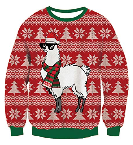 Idgreatim Unisex Natale Maglione Divertente Babbo Natale Stampa Manica Lunga Brutti Maglioni Natalizi Maglioni Camicie Rosse XXL