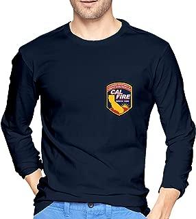 CRISLEEVE Cal FIRE Logo California Strong Mens Long Sleeve Shirt T-Shirt Tee Casual Slim Fit T Shirt