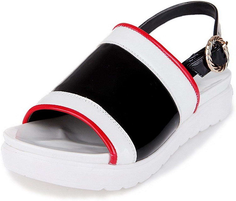 AmoonyFashion Women's Buckle Open-Toe Low-Heels PU Assorted color Sandals