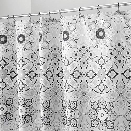 mDesign Decorative Medallion Print, Easy Care Fabric Shower Curtain with Reinforced Buttonholes, for Bathroom Showers, Stalls and Bathtubs, Machine Washable - Black/Gray