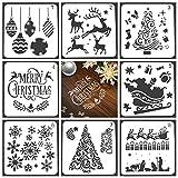 Hamkaw Frohe Weihnachten Schablone, 8 STÜCKE Wiederverwendbare Weihnachtsschablonen Vorlage Weihnachtsmann Für Zeichnung Malerei Wiederverwendbare Holzschilder Glasalbum Sammelalbum Weihnachten