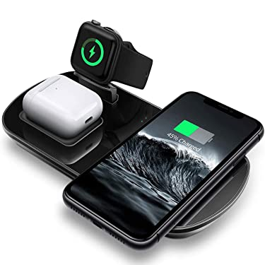HKHYOO 3 in 1 Wireless Charging Pad with Magnetic Charger for Apple Watch 5/4/3/2/1, Fast Charging Station Compatible with iPhone 11/XR/XS/X/8P/8/SE 2020, Samsung S20/Note 10/S9, AirPods
