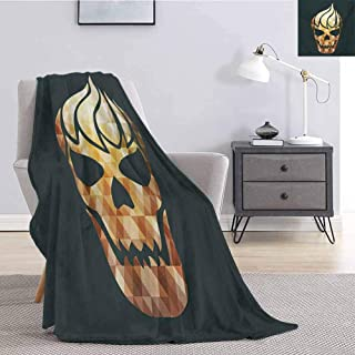 Luoiaax Modern Fuzzy Blankets King Size Gothic Skull with Fractal Effects in Fire Evil Halloween Concept Soft Fuzzy Blanket for Couch Bed W57 x L74 Inch Yellow Pale Caramel Dark Grey