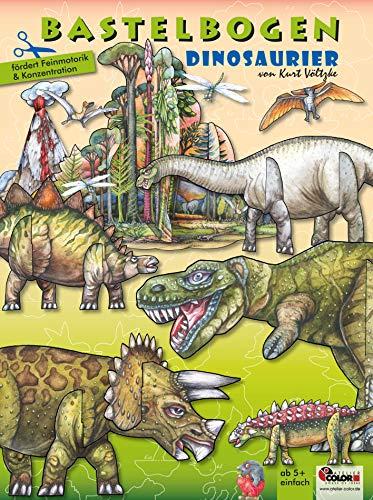 Dinosaurier Bastelbogen: 3d bespielbare Dinosaurier mit Vulkan & Erdmittelalter Landschaft zum Ausschneiden und Basteln aus Papier für Kinder