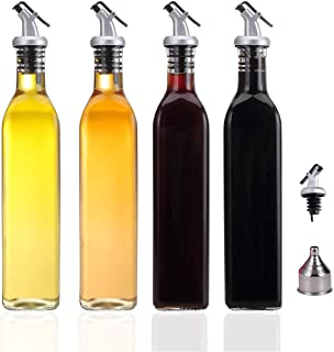 Berdeng Olive Oil Dispenser-4 Pack Oil and Vinegar Dispenser Set(17 OZ) Oil and Vinegar Bottle Set with 1 Stainless Steel ...
