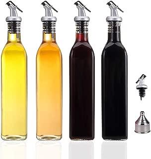 HAIBO Olive Oil Dispenser-4 Pack Oil and Vinegar Dispenser Set(17OZ) Oil and Vinegar Bottle Set with 1 Stainless Steel Funnel and Cleaning Brush Olive Oil Bottle and Vinegar Bottle Glass Set