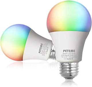 Smart LED Light Bulb 2.4G(Not 5G) E26 WiFi Multicolor Light Bulb Work with Siri,Alexa, Echo, Google Home (No Hub Required), Peteme A19 60W Equivalent RGB Color Changing Bulb (2 Pack)