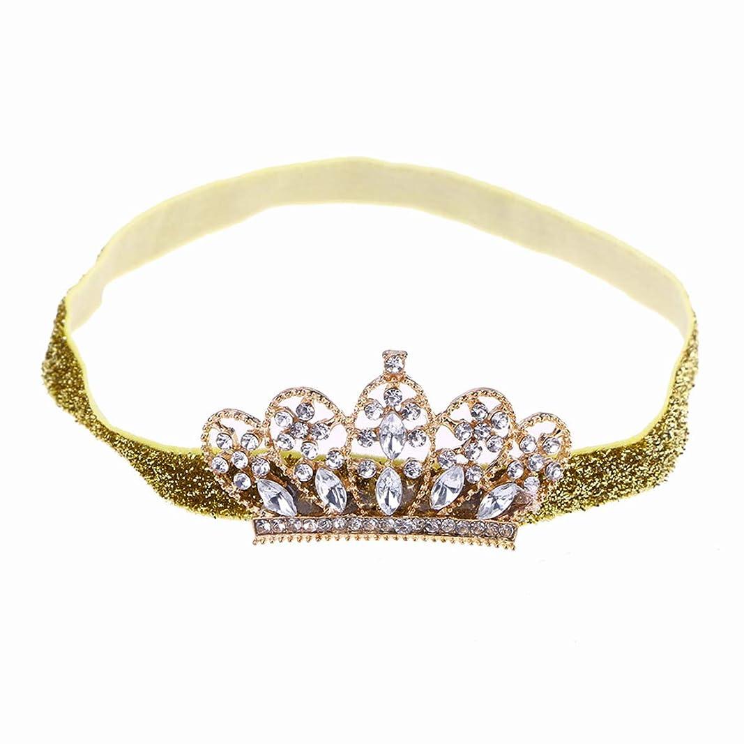 手入れ誘惑する接続されたBeaupretty Baby Girls Rhinestone Crown Headband Elastic Tiara Hairband Headdress
