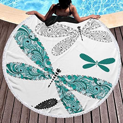 Tapiz de playa redondo con diseño hippy mantel toalla de playa, figuras ornamentales de libélula con efectos de encaje y damasco imagen artística, esterilla de yoga redonda mantón redondo