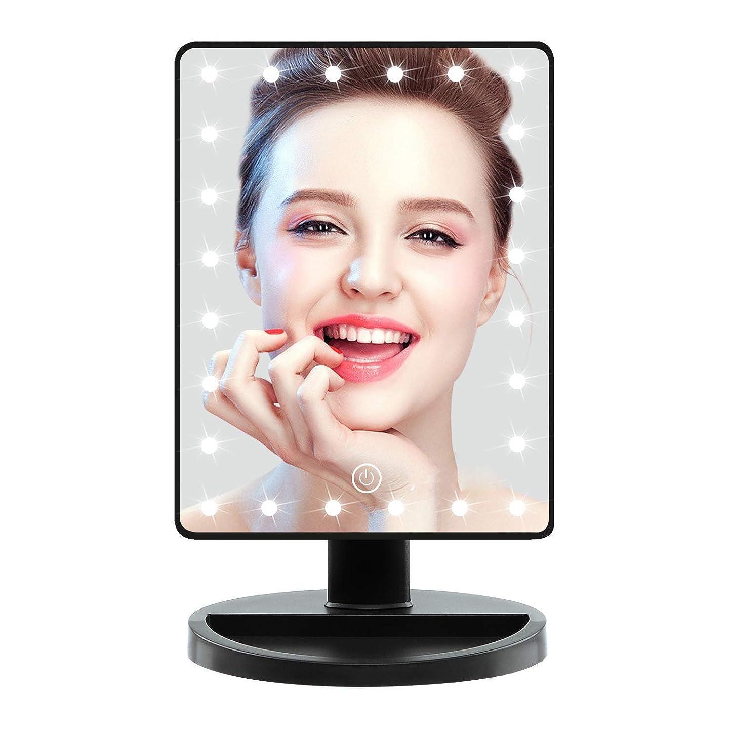 珍しいしなければならないケント化粧鏡 ledデスクトップ 収納鏡180°の回転 明るさ調節可能タッチスクリーン、光付きポータブルデスクトップバニティミラー、美容ギフト ミラーをつけますベース収納ボックスデザイン-(充電式)
